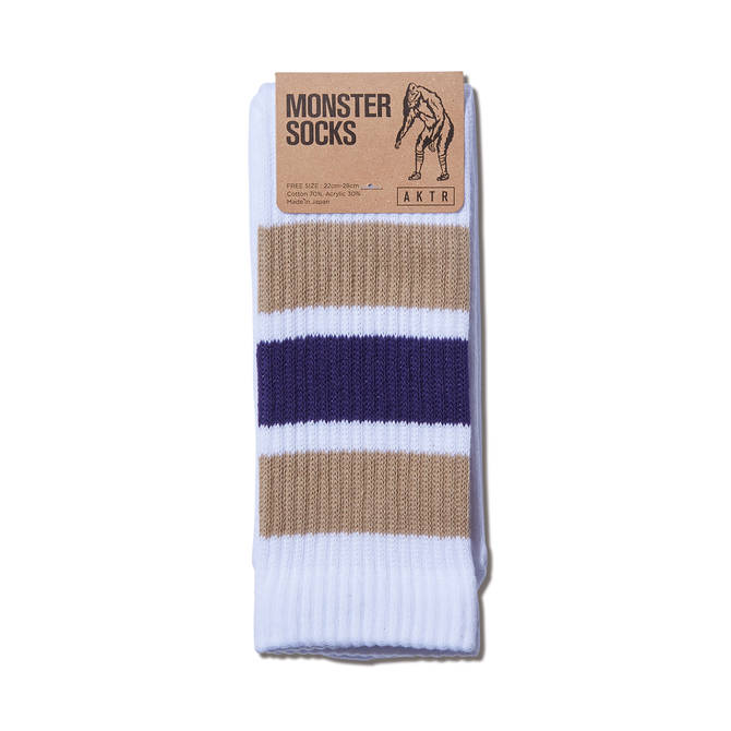 AKTR MONSTER SOCKS WHITExBEIGE