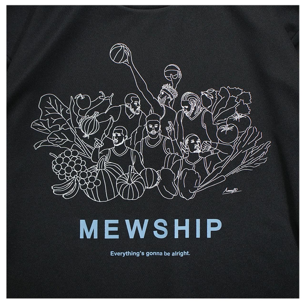 Mewship50 Vegetable friends S/S PL【Black×White×P.Blue】