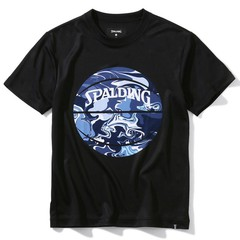 SPALDING ジュニアTシャツ ウォーターマーブルボール【SJT200620 BK×NV】
