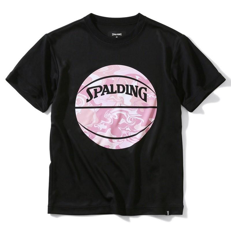SPALDING ジュニアTシャツ ウォーターマーブルボール【SJT200620 BK×PNK】