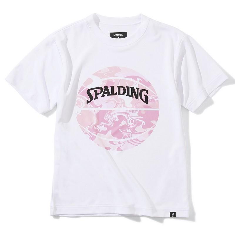 SPALDING ジュニアTシャツ ウォーターマーブルボール【SJT200620 WH×PNK】