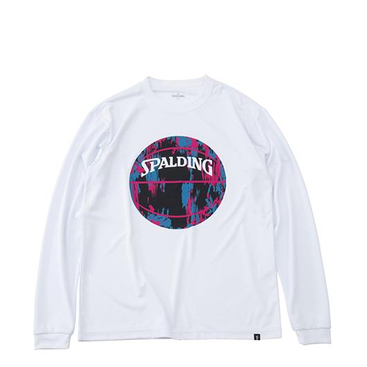 SPALDING L/S Tシャツ マーブルボール【MT191210 WH×PNK】
