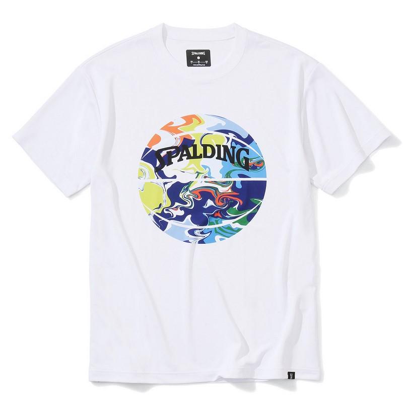 SPALDINGTシャツ ウォーターマーブルボール【SMT200200 WH×ML】